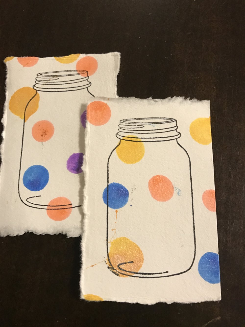 Embellish - Add a stamp to each one to create a writing space for your card. We liked the jar stamp because it was larger, but can be anything! Children love stamping! Show them how to ink the stamp and then press once for the clearest images!