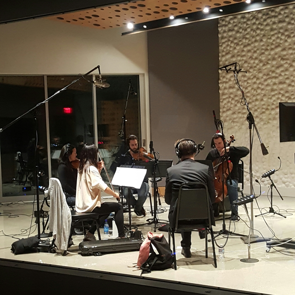 Recording the string quartet.
