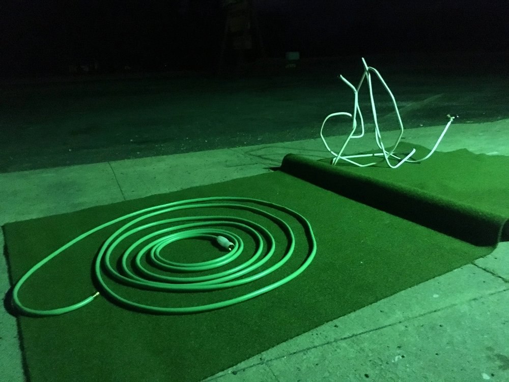 2017, Sculpture study (Full moon, buzzing green light, bent steel, hose)- Franconia Sculpture Park