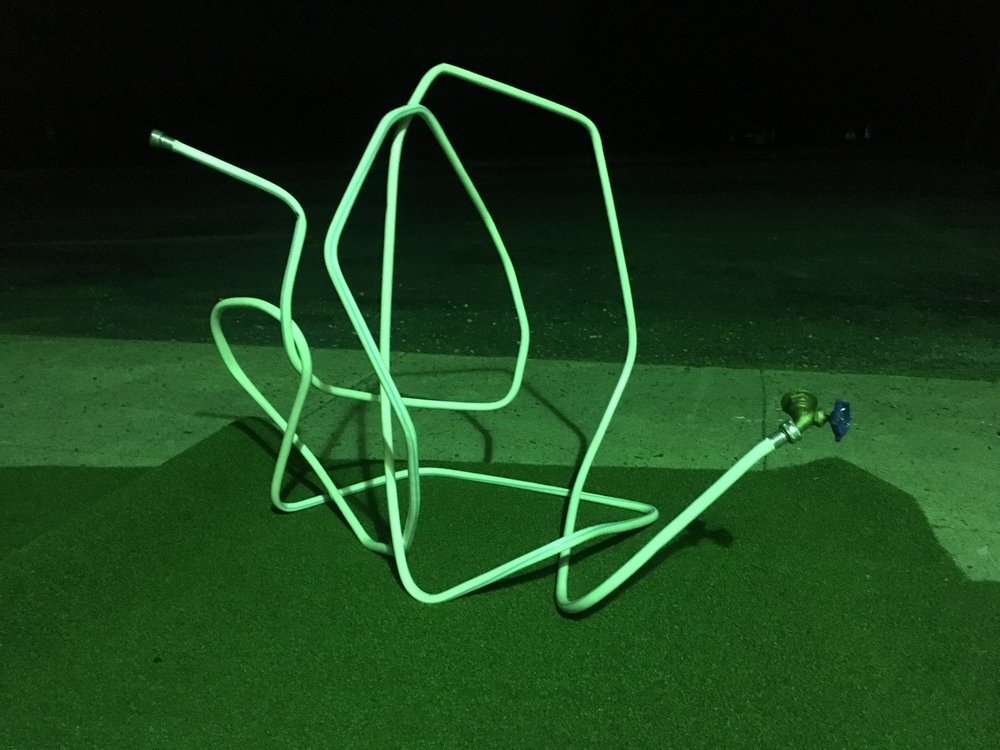 2017, Sculpture study, bent steel, hose, turf - Franconia Sculpture Park