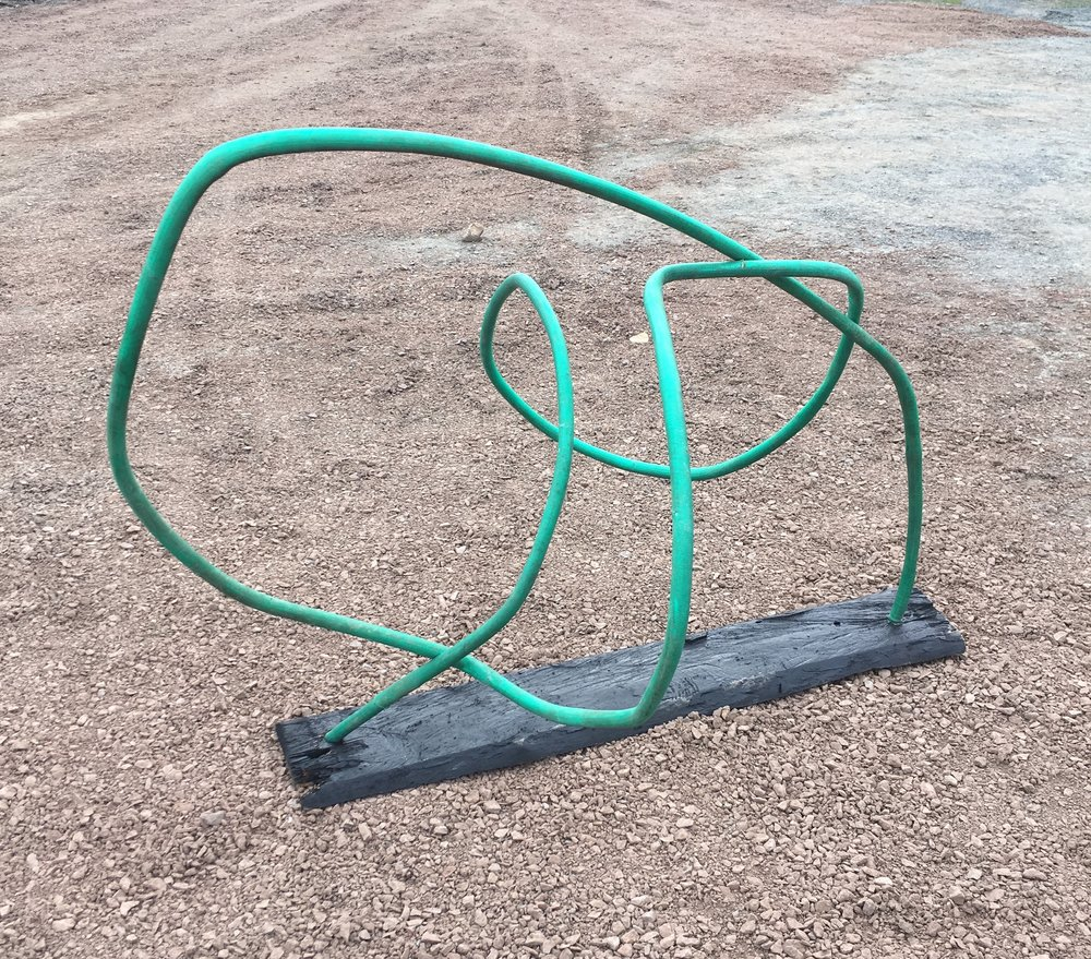 2017, Sculpture study, bent steel, hose, wood - Franconia Sculpture Park
