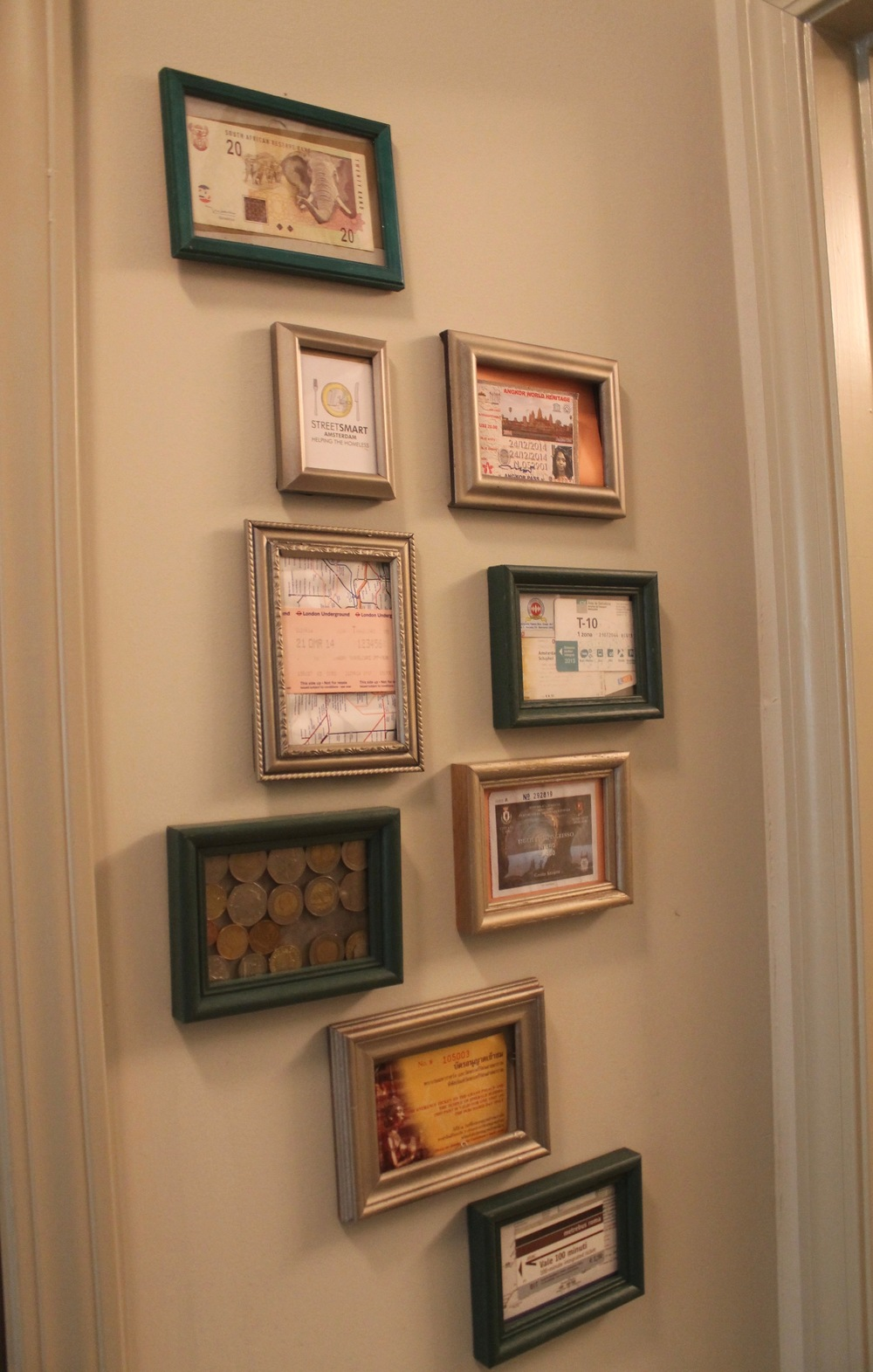 Gallery Wall with Framed Travel Mementos