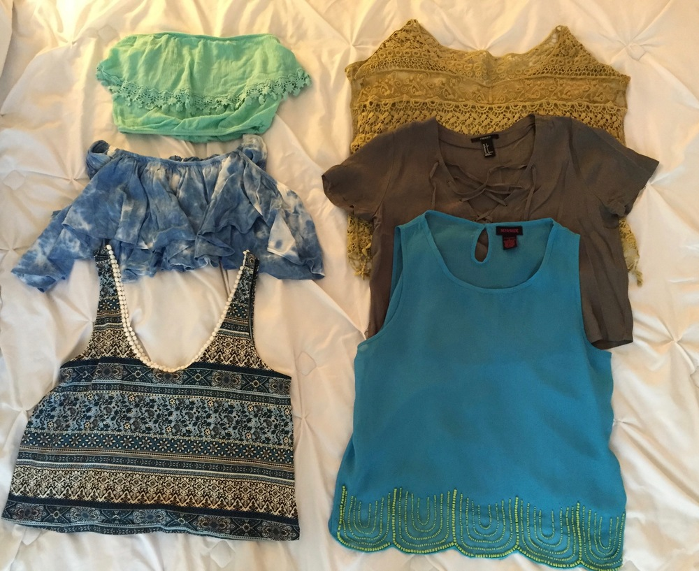 Summer tops with blue color scheme