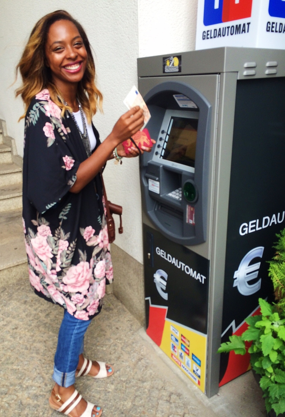 The happy moment when Capital One decided to let me be great and withdraw my money in Berlin. I attempted to withdraw money at 5 other ATMs before this beauty blessed me with Euros! #bbhmm Pro Tip: When abroad try to withdraw money from ATMs connected with a bank. They will give you less trouble.