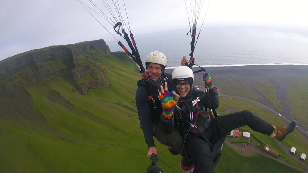Paragliding (more accurately, FLYING) off the coast of Vík in southern Iceland with the awesome folks from True Adventure! Check them out--you won't be disappointed!