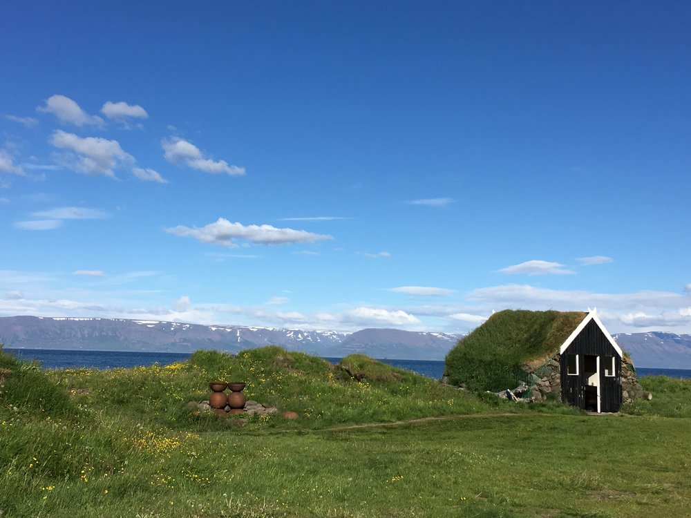 Icelandic turf house on our campground in Skagafjörður.
