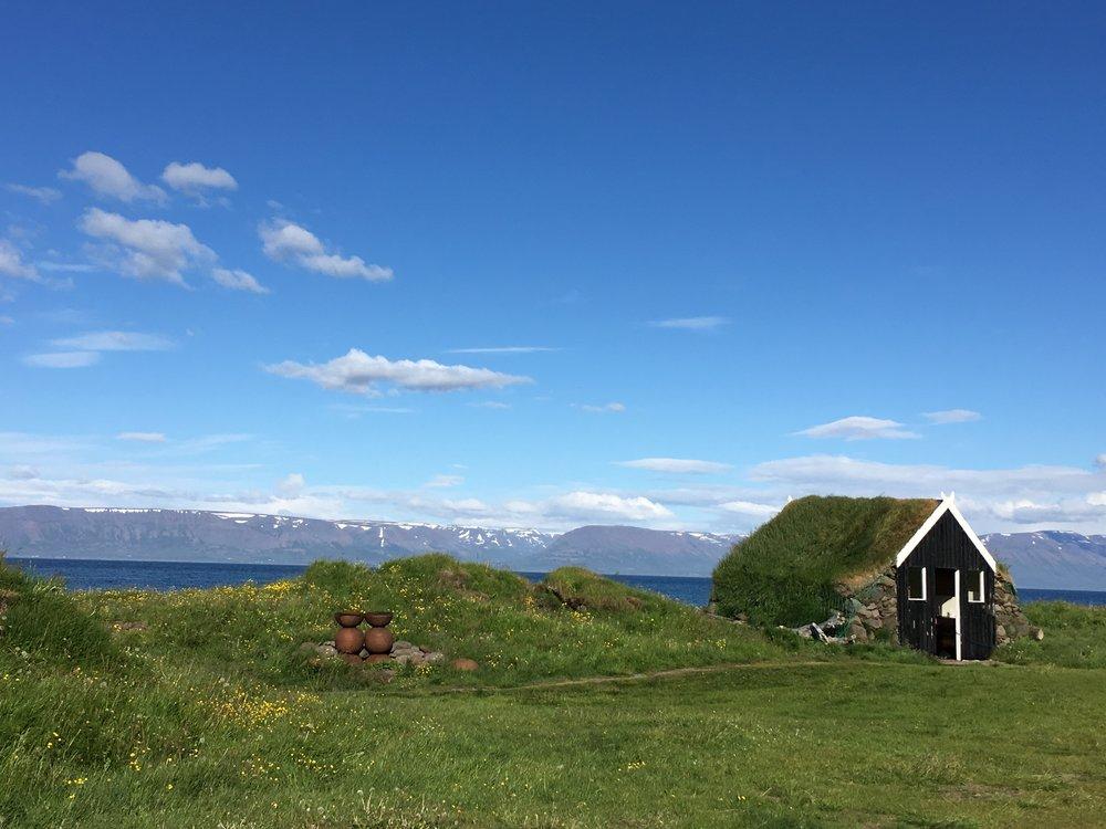 Icelandic turf house on our campground in Skagafjörður.
