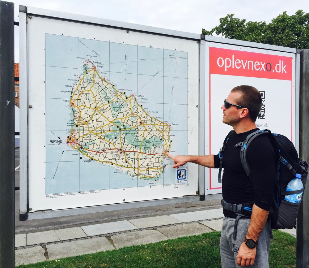 Deciding on what biking route to take in Bornholm, Denmark.