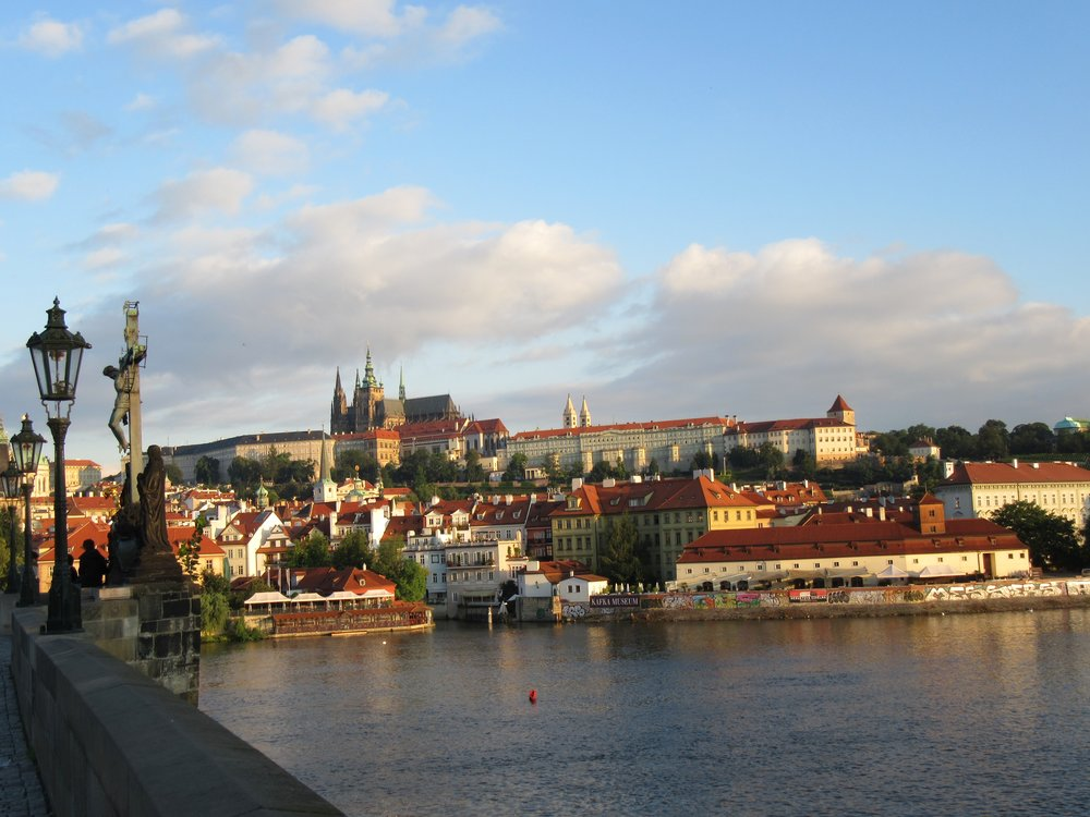 Charles Bridge during sunrise