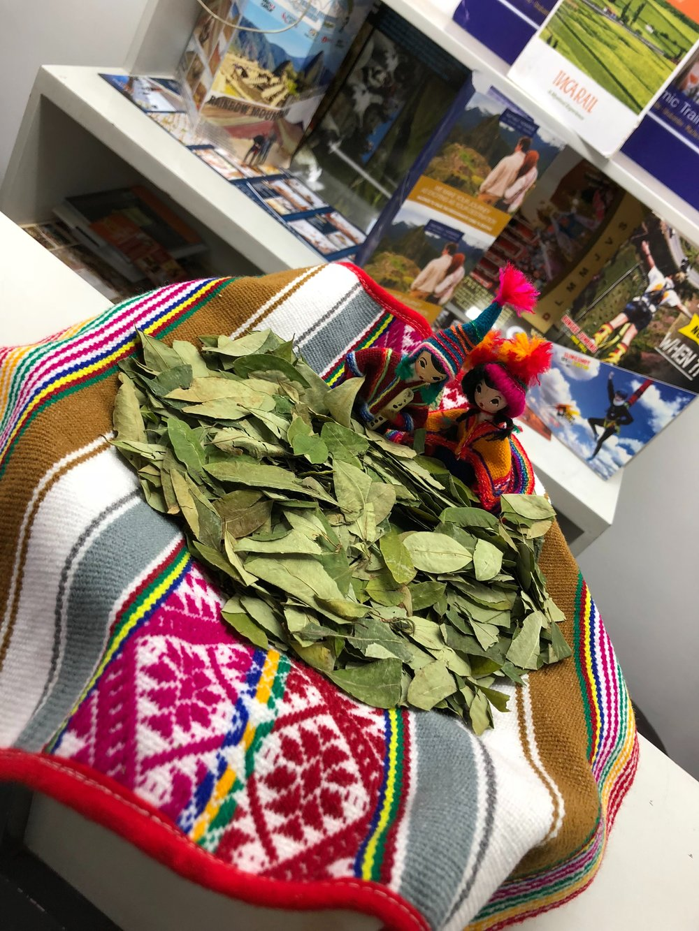 Coca leaves in the Cusco airport.