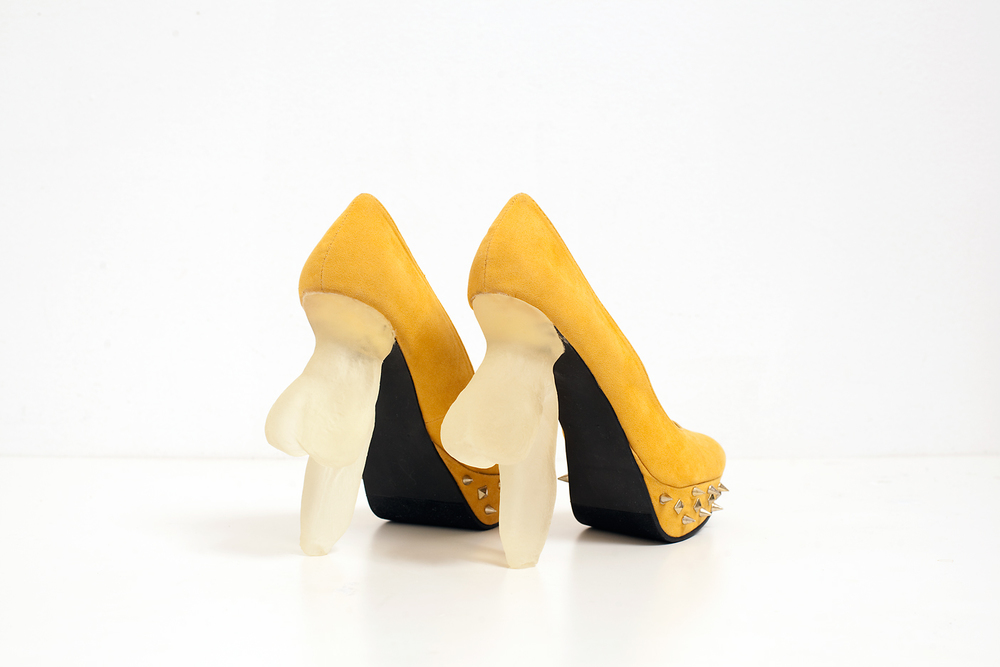 Soft Heeled Shoes, 2013, 3D printed soft heels, suede shoes, metal, 7 x 3 x 7 inches
