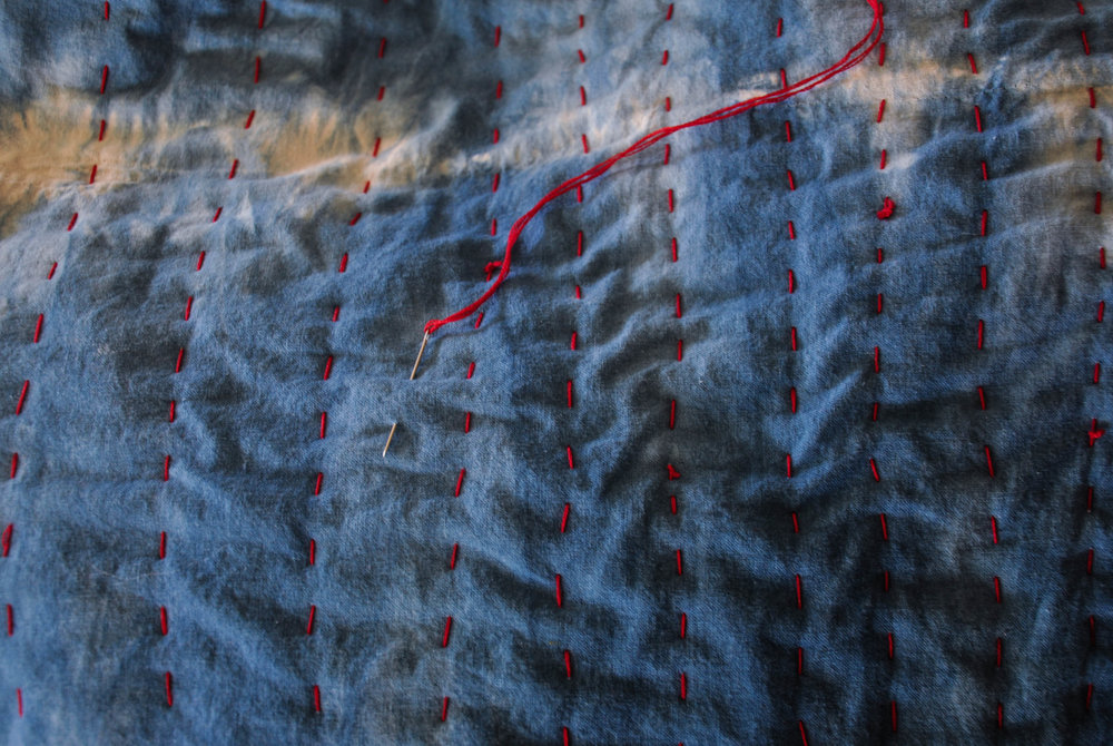 This is a quilt I'm making with shibori indigo dyed cotton.