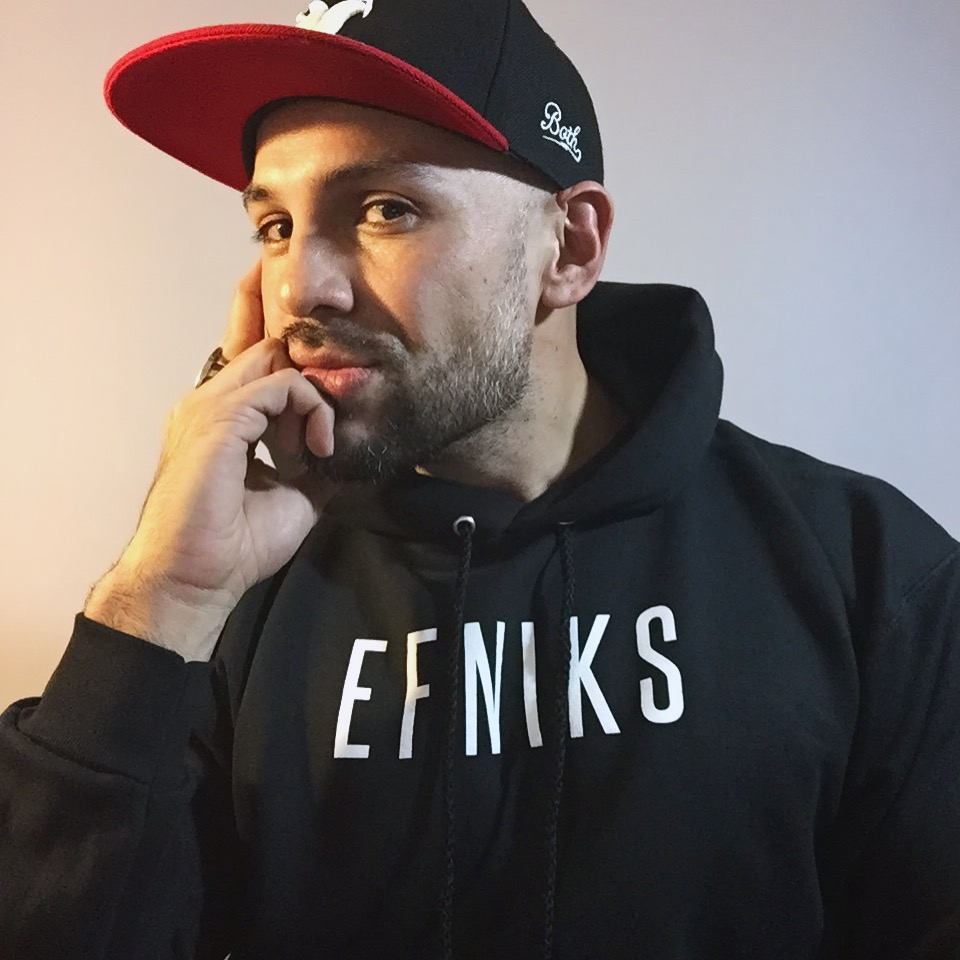 EFNIKS Logo Hoodie  - Available in sizes S, M, L, XL, 3XL White ink on black (90% cotton, 10% polyester)9.7 oz. high density low-pill cotton (for comfort and durability)Click for more: Hanes Ultimate Cotton Pullover