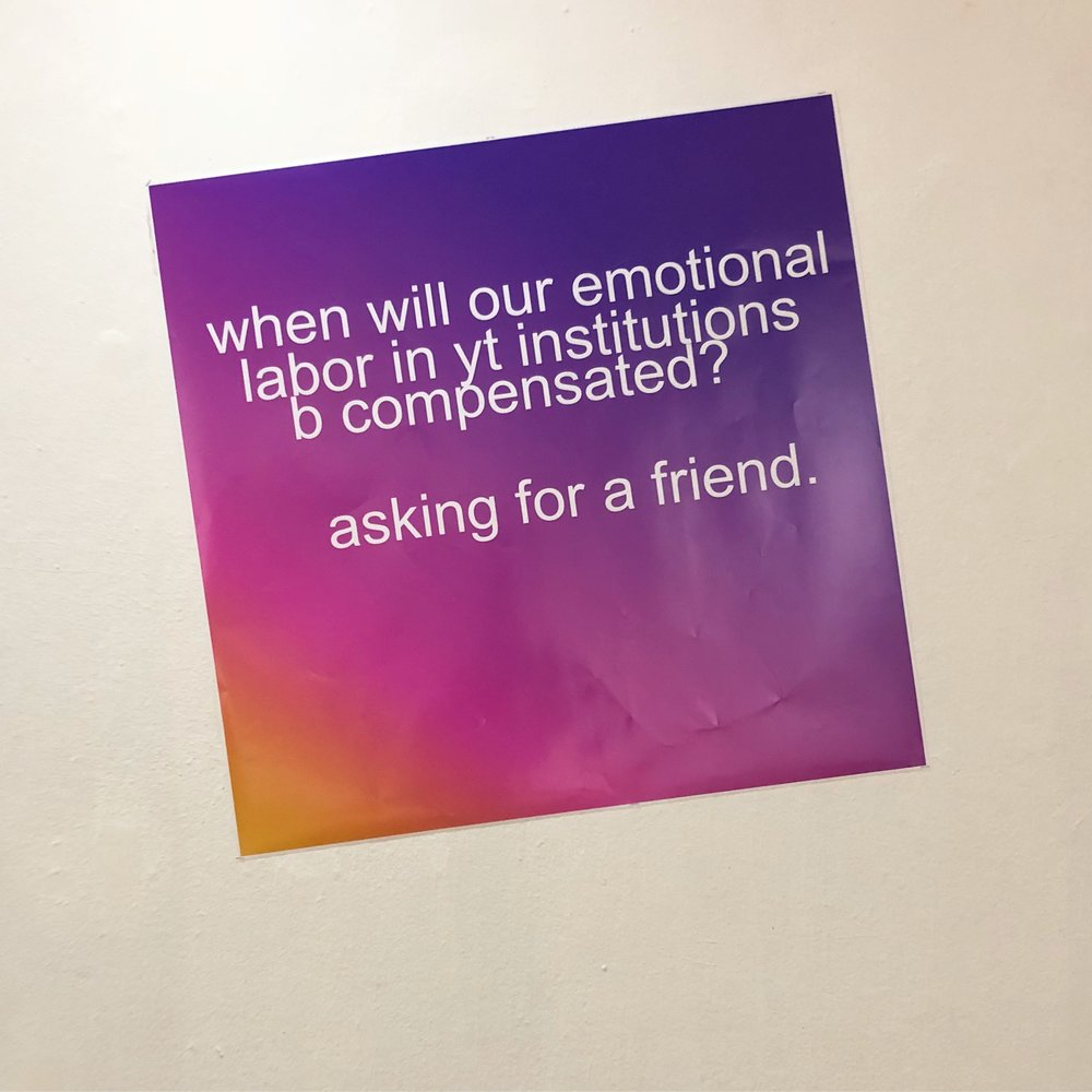 "When will our emotional labor b compensated 40""x40"" Digital Print"