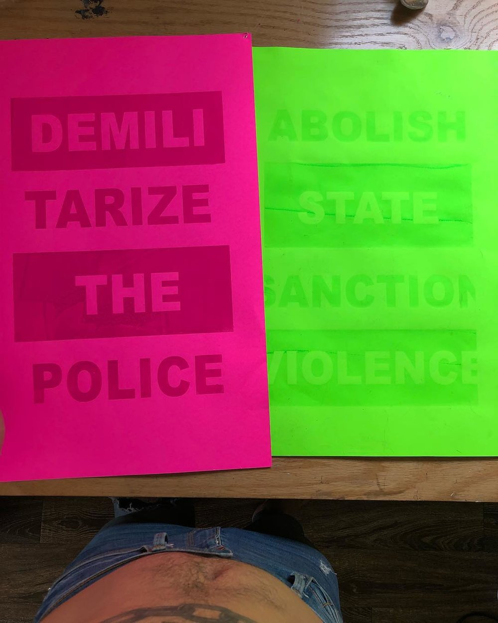 DEMATERIALIZE THE POLICE & ABOLISH STATE SANCTION VIOLENCE Screen Printed Posters - Roy Martinez