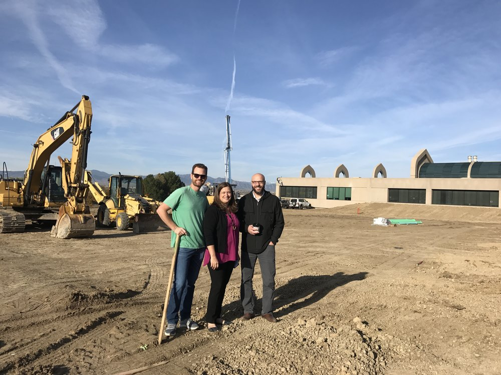 Blake Carlson, Diana Durrill and Mitch Doughty, all CCA Board members enjoy the progress being made on the gym.