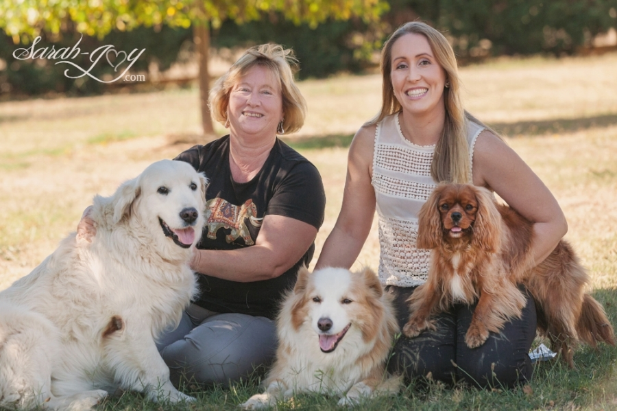 mother daughter and their three dogs