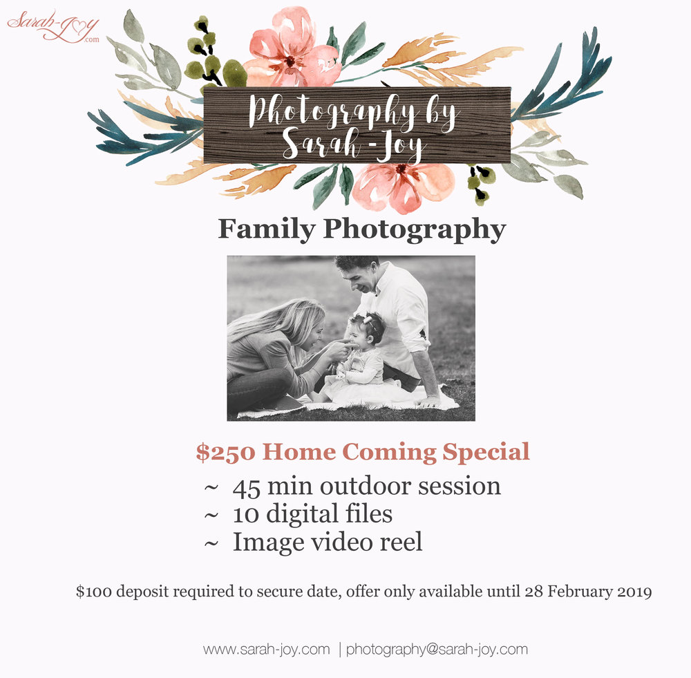Melbourne Family photo shoot pricing special offer
