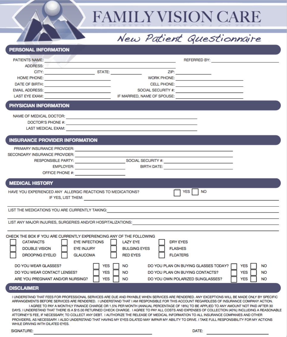 Fill out your information before you come in!