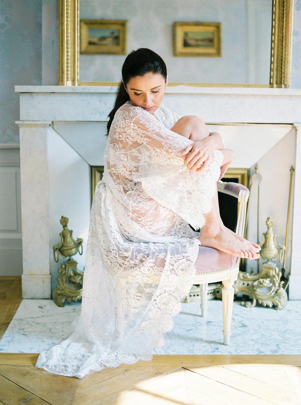 Maria bridal lace robe