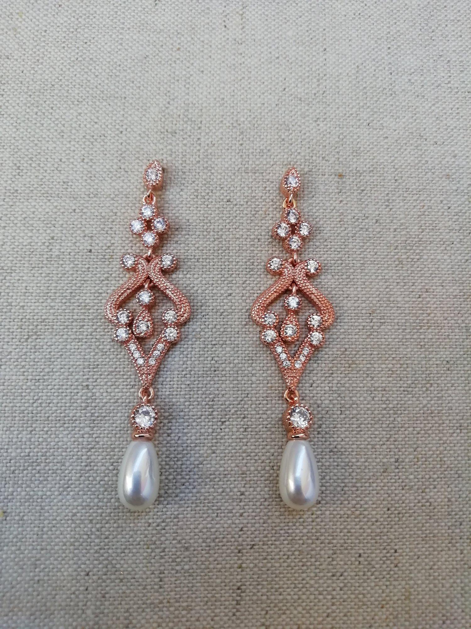 Wedding Rose Gold Earrings Wedding Earrings Zircon Bridal Earrings Bridesmaid Style127 Mes Petites Dentelles