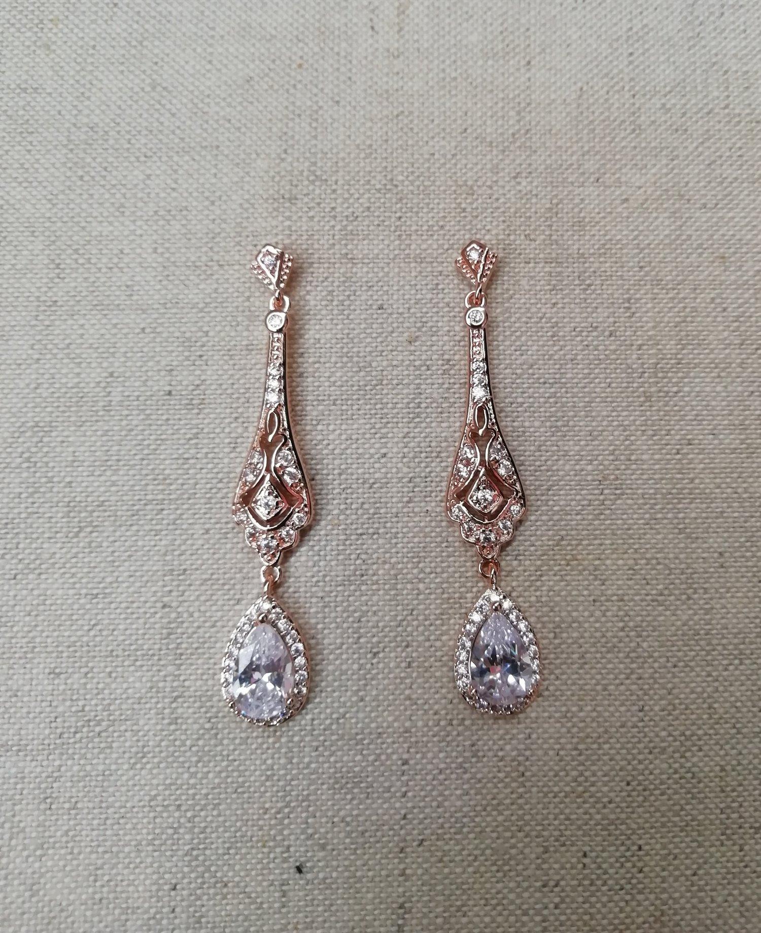 Wedding Rose Gold Earrings Wedding Earrings Zircon Bridal Earrings Bridesmaid Style128 Mes Petites Dentelles