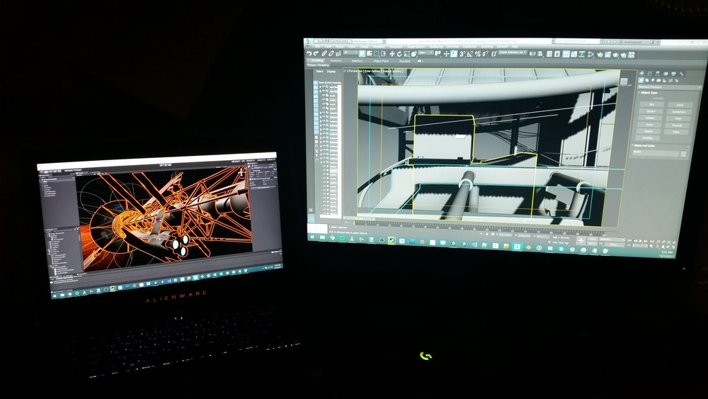 My current Workstation Setup (with 'The Red Planet' open in Unity, and a WIP Mars Buggy Model in 3DS Max).
