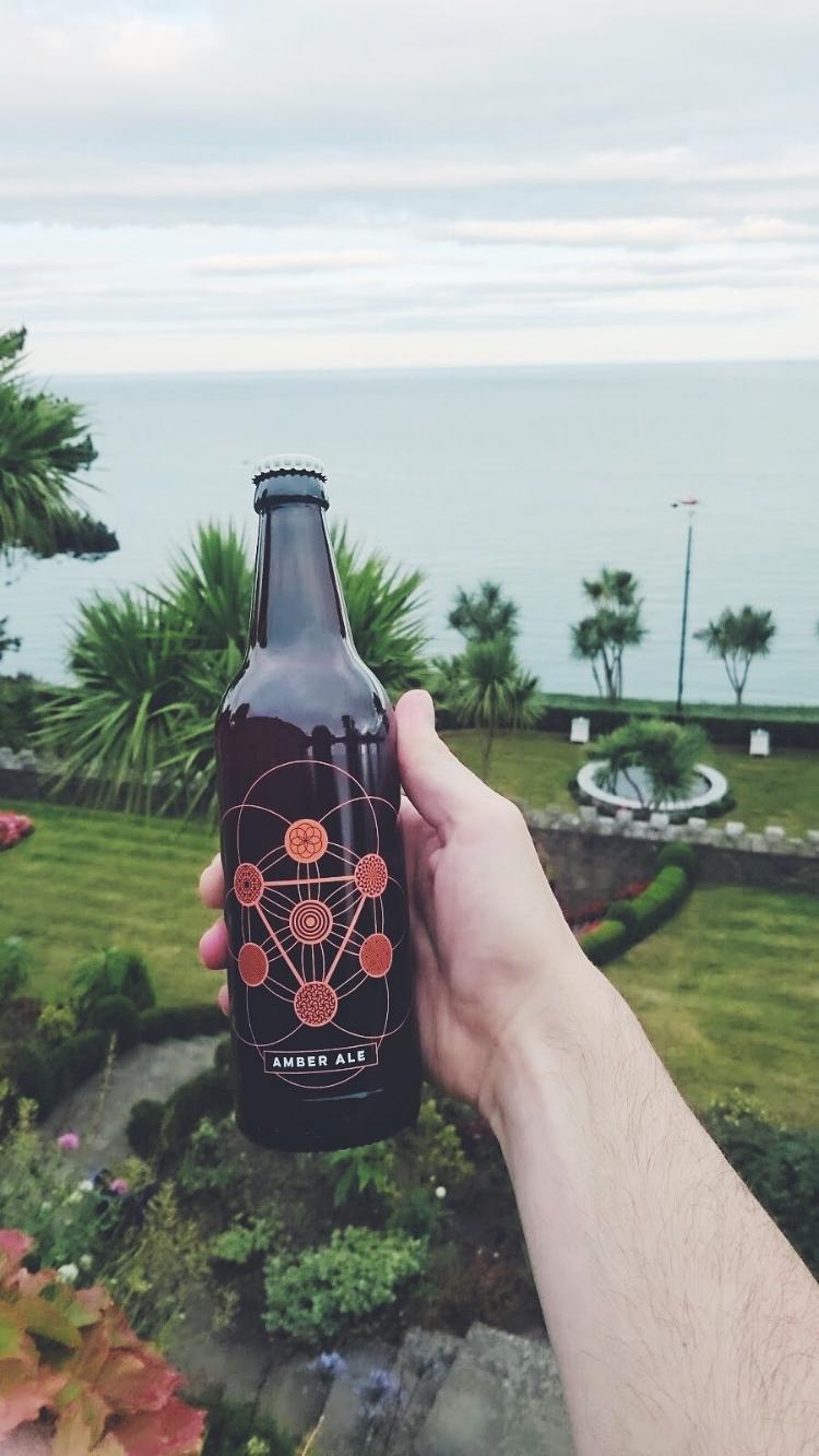 Dotbrew's new Amber ale (backdrop:a sexy garden near Killiney beach)