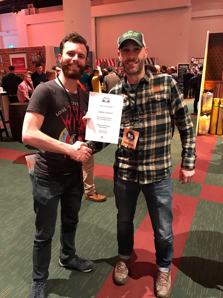 In this picture I ran into Phil Tavey from Beer Academy who anticipated my being there and brought my course certificate. Legend! (Photo taken on Phil's phone)
