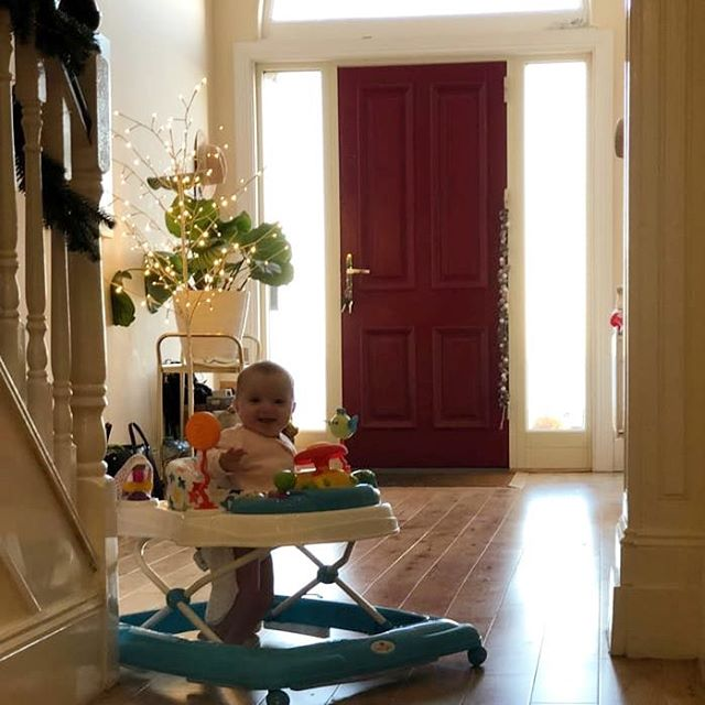 Molly Rose is loving her new walker from uncles Dylan and Mikey. She can already go up and down the length of the hallway! #prouddad #mollyrosepower #firstchristmas #cooluncles