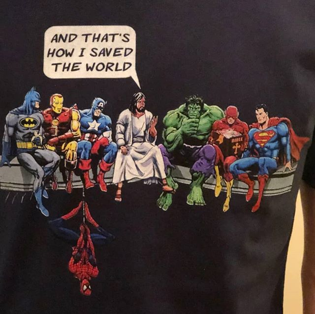 T-shirt my mum got me for Christmas. She knows me well, I love Jesus and superheros, this tee is epic! Reminds me of @hishegram type dialogue, great YouTube channel if you haven't checked it out before 😉 #jesusismyhero