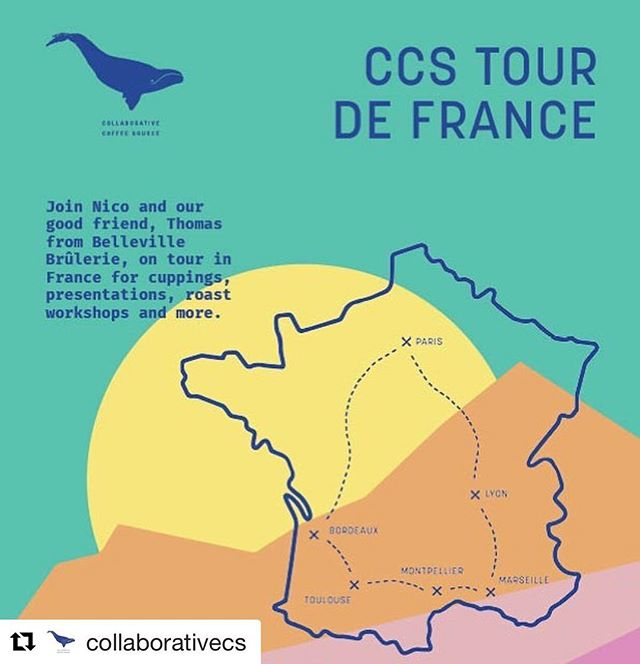 #Repost @collaborativecs 🐋 ・・・ Retrouvez Nico et notre vieil ami Thomas de Belleville Brulerie, pour ce nouveau CCS Road Trip!  Au programme: Cuppings, ateliers roast et plus...! Septembre 7 Paris @ KB Coffee Shop  Septembre 9 Lyon with Placid Roasters @ Slake Coffee - 16h00  Septembre 11 Marseille @ Deep Coffee Roasters - 17h30 Septembre 12 Montpellier @ Café BUN - 18h30 Septembre 13 Toulouse @ Café Cerise - 9h00 Septembre 13 Bordeaux @ Oven Heaven - 17h00  Septembre 15 Paris @ Belleville Brulerie - 17h00 @cafesbelleville @kbcoffeeroastersparis @placidroasters @slake_coffeehouse @buncafe @lecafecerise @ovenheavenbx