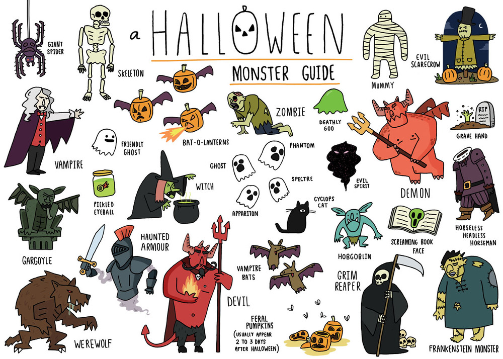 Halloween Monster Guide — Matty Long Illustration