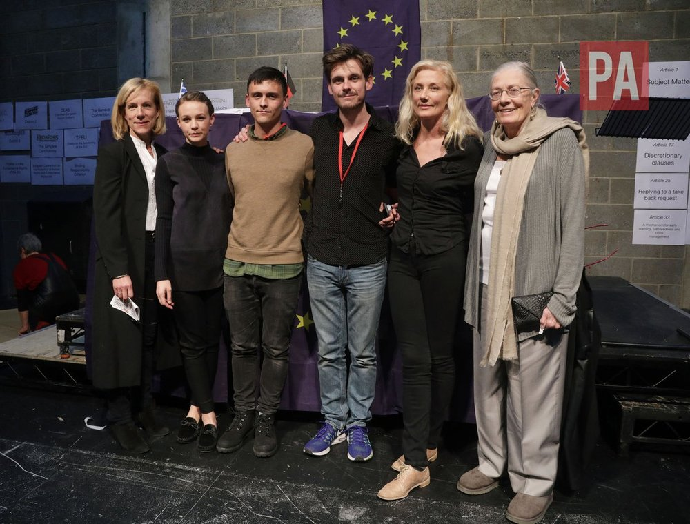 Last Chance reading: from left to right, Juliet Stevenson, Carey Mulligan, Joe Robertson (Good Chance), Joe Murphy (Good Chance), Vanessa Redgrave
