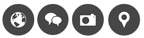 image showing world-wide-web icon, social chat, camera and map icon.