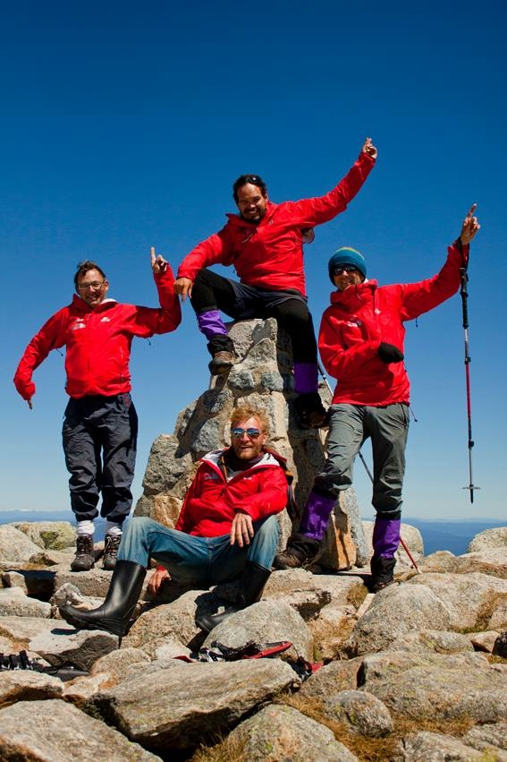 The summit of Australia. Note Conrad's Wellington Boots. You may notice only four of us on the summit. Dan was in hospital still but is well now and vows to return.