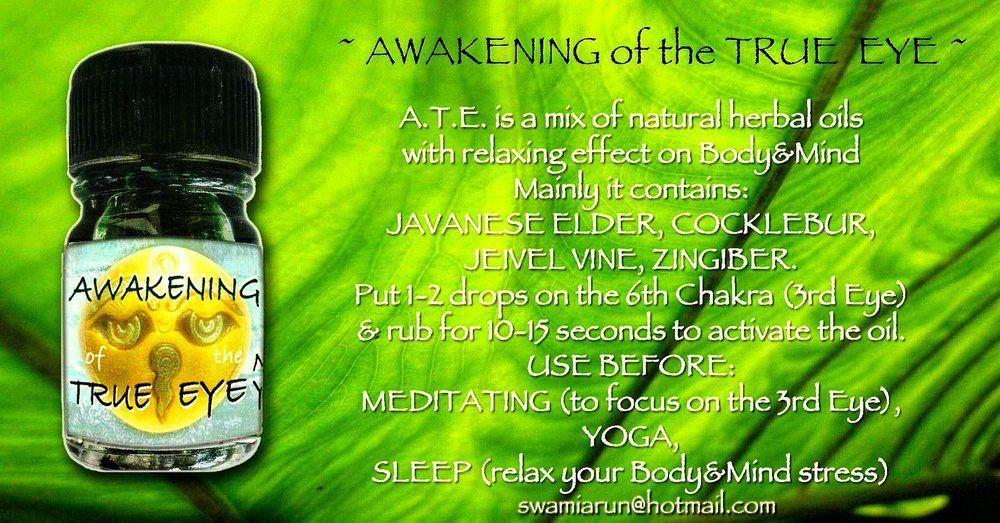 Third Eye Awakening Oil, Made from all Local Balinese Plants