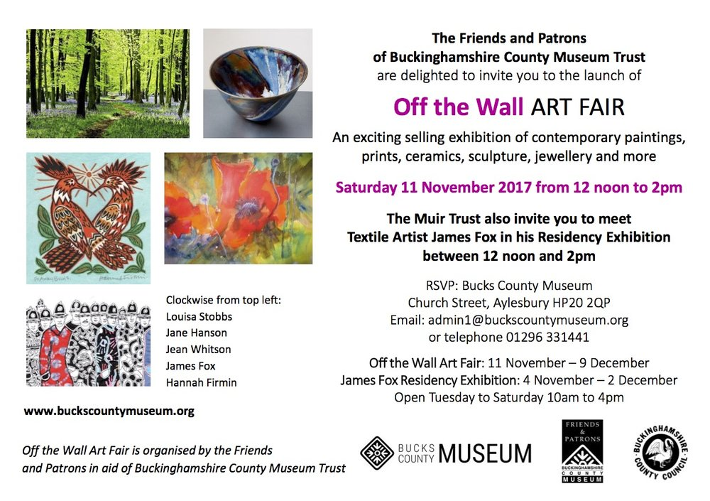 11 Nov - 9 Dec  - Off The Wall Art Fair - Aylesbury Museumhttp://www.buckscountymuseum.org/museum/events/68/off-the-wall-art-fair/