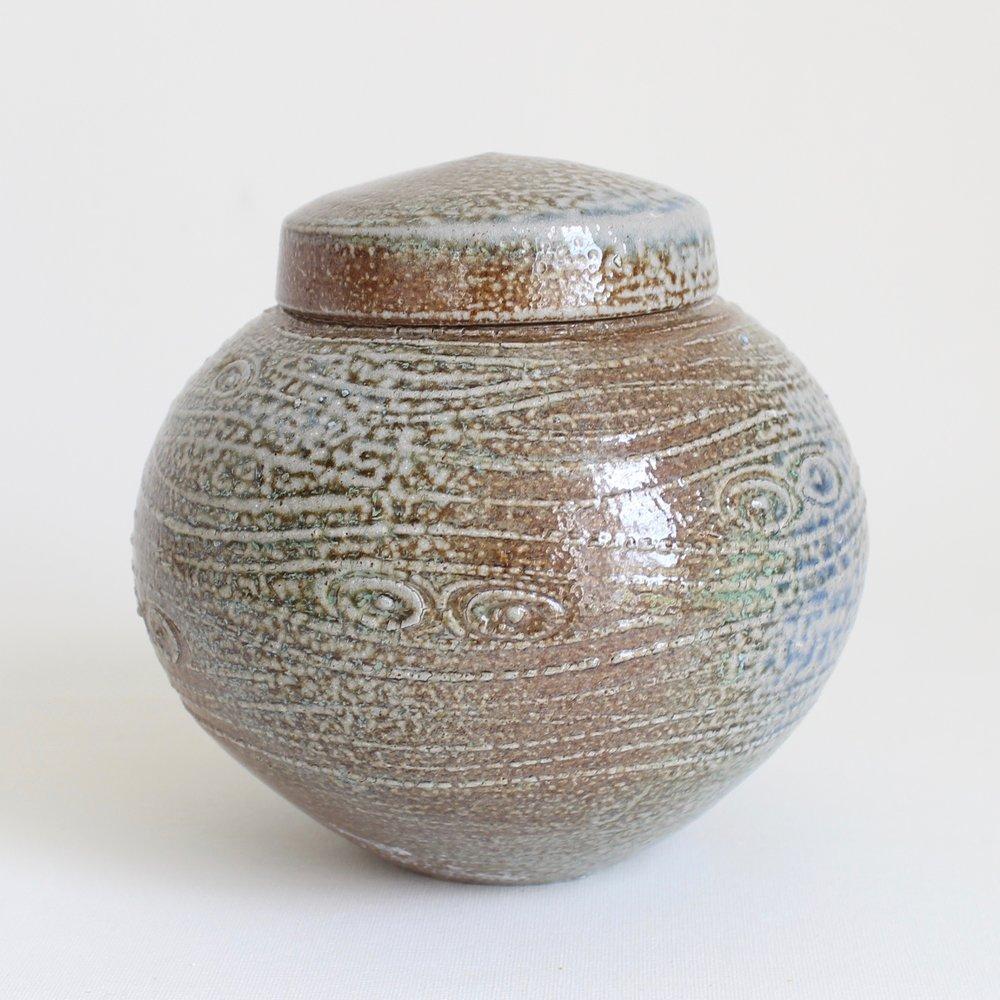 soda fired lidded moon jar