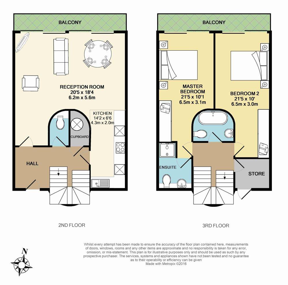 Floorplan for Jamestown Road, Camden, NW11: 2 Bedroom Flat