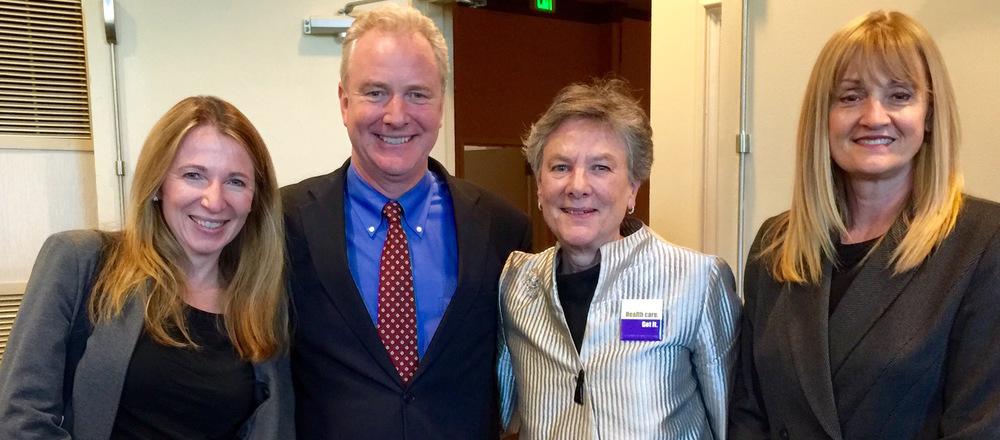(L-R) Susan Fiorella, Strategy Director, Kaiser Permanente; Congressman (D) Chris Van Hollen; Leni Preston, President, Consumer Health First; and Laurie Kuiper, Director of Government Relations, Kaiser Permanente