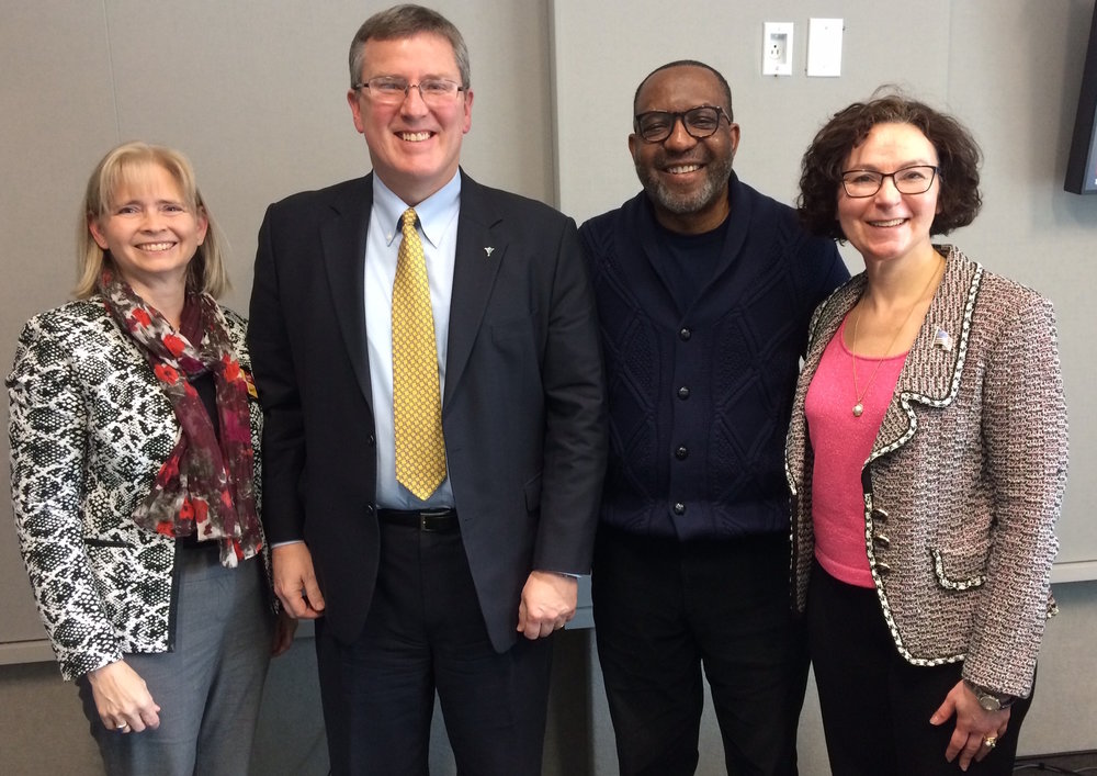 L-R: Consumer Health First Executive Director,  Jeananne Sciabarra ; President and CEO of VHHA,  Sean Connaughton ; Host  Kojo Nnamdi ; and Executive Director of the DC Health Benefit Exchange Authority,  Mila Kofman
