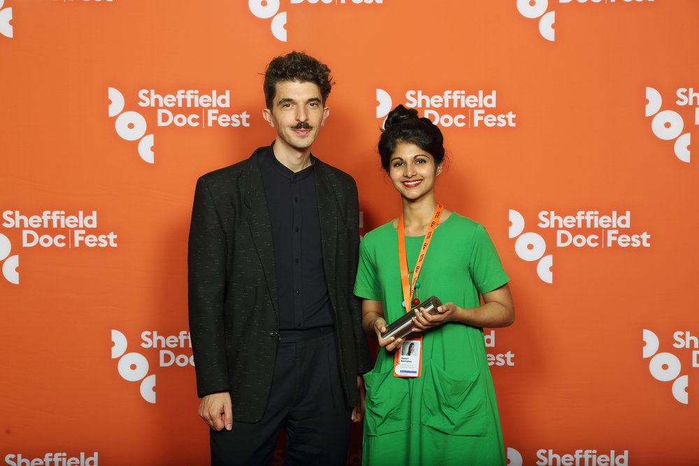 Sheffield Doc/Fest '17: Accepting the Broadcast and Screen International-sponsored Grand Jury Award on behalf of Cartel Land director Matthew Heineman's City of Ghosts.