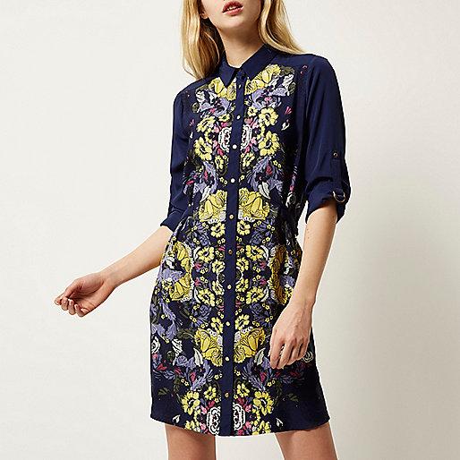 http://eu.riverisland.com/women/dresses/shirt-dresses/blue-floral-print-shirt-dress-678833