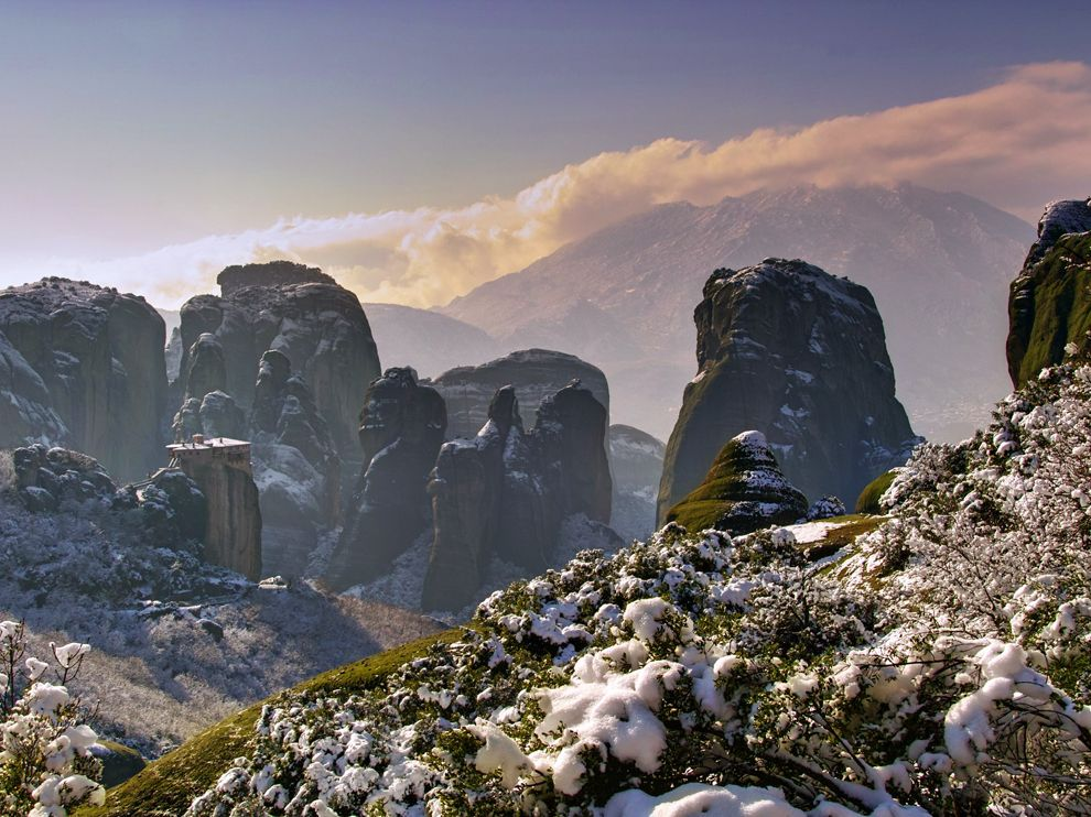 Meteora covered in a layer of snow.jpg