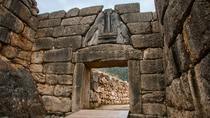The Lion Gate was the main entrance to the Bronze Age citadel of Mycenae, the center of the Mycenaean civilization.