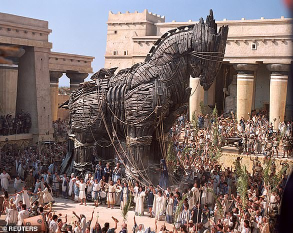 A Trojan horse is shown in a scene from the action film 'Troy' starring Brad Pitt.