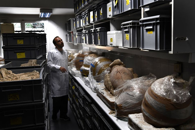 A photo taken on July 7, 2017 shows archaeological findings stored in a lab at the American School    of Archaeology in Athens [Credit: Aris Messinis/AFP]