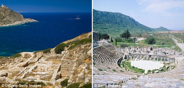 Cnidus (left) and Ephesus (right) in Turkey are two more cities that are said to have been built directly above sites of earthquake activity