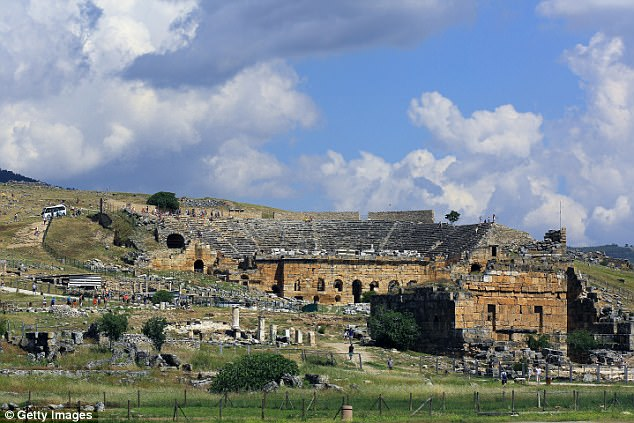 Early human settlers are also saidto have used the underground fault lines and natural springs that erupted from the earthquakes to build cities such as Hierapolis in Turkey (pictured)